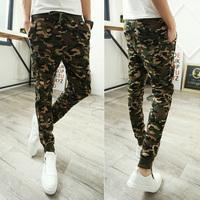 rushed 2014 men pant outdoors joggers camouflage harem pants sport jogging ,sweatpants drop crotch pants men