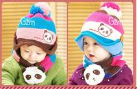 2014 hot selling  princess autumn and winter child hat plush panda hat cap baby hat scarf muffler set free shipping