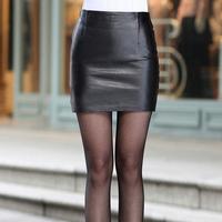 Black fashion popular matte faux fashion skirts womens leather skirt package hip skirt mini shirt 2014 New