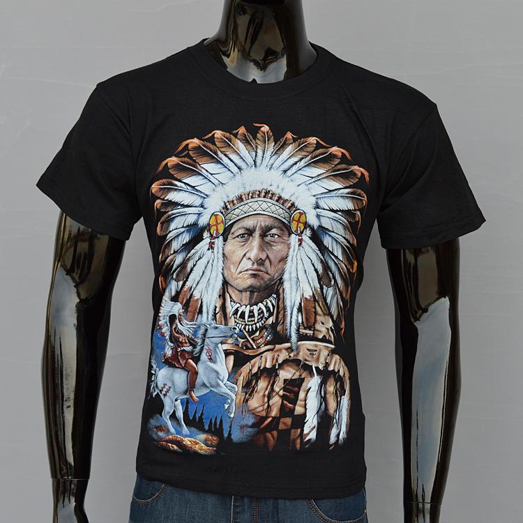 Blusa de algodão de manga curta nova individualidade índios de design criativo T -shirt dos homens novos dos homens maré no verão(China (Mainland))