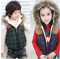 Free shipping new fashion casual plaid fur collar boys waistcoat winter baby girls vest children
