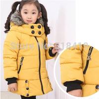 2014 winter female child medium-long plus velvet thickening with a hood wadded jacket cotton-padded jacket cotton-padded