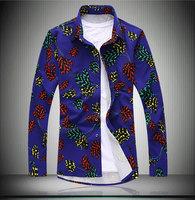 Men's slim fit Flower Tactical male casual Shirt mens dress Camisas Masculina shirts camisa social camisetas masculina 7XL #1040