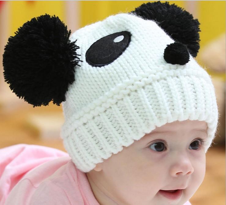The new cartoon panda double ball cap Wool knitting baby hats Winter warm hat children's hat(China (Mainland))