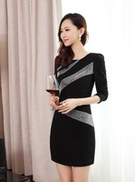 new 2014 autumn and winter O-neck sexy long-sleeve basic one-piece slim fashion knitted sweater dress women free shipping