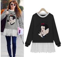 2014 fashion star style autumn and winter fashion medium-long pattern long-sleeve faux two piece sweatshirt female top