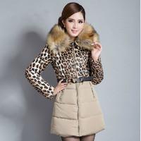 XXL 2014 winter thickening plus size clothing large fur collar down coat medium-long patchwork leopard print slim cotton-padded