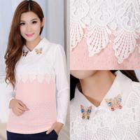 2014 autumn Women chiffon shirt long-sleeve Fashion Casual basic shirts Hollow lace Tops Women Blouses 5 Colors