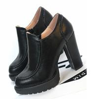 High-heeled shoes platform women's shoes fashion side zipper thick heel shoes women's single shoes