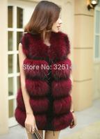 2014 female fur outerwear plus cotton patchwork genuine leather full leather fur raccoon fur vest hole-digging