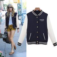 Best Price ! 2014 New Autumn women's varsity baseball uniform outerwear bomber jacket baseball jacket Free Shipping