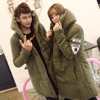 2014 wadded jacket male winter male cotton-padded jacket cotton-padded jacket medium-long lovers wadded jacket female