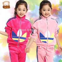 2014 autumn spring  Children's clothing  sets  , child girl / boys  casual velvet sports set z61 hot sell .