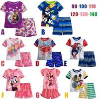 Summer Short Sleeve Frozen Pyjamas Kids Pijamas Boys Girls Pajamas Sets Shirts and Shorts Clothing Sets  Minnie Mickey Pattern
