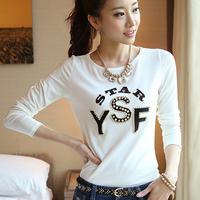 High Quality  100% Cotton Candy Colour T-shirt 2014 Women Letter Print T shirt women clothing all match Top Tee