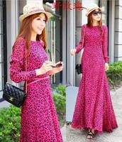 2014 autumn fashion rose leopard print long-sleeve dress fish tail one-piece dress full dress