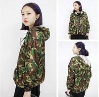Women's fashion vintage original design Camouflage trench flavor outerwear
