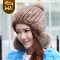 Fur hat women's winter mink hat 21-year-old autumn and winter knitted hat g122