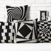 Black-and-white geometry thickening fluid pillow sierran cushion cover 4 pcs/set square 43cm