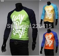 HOT SALE M-XXL Men's Fashion Print Casual t shirt raglan long-sleeve t-shirt long-sleeve T-shirt men 3 colors