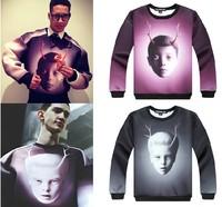 Fashion space cotton sweatshirts male 3d gradient print pullover jogging suits for men hip hop hoodie man tracksuit  women