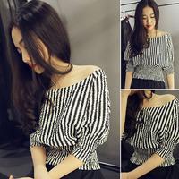 Women's vertical stripe slit neckline strapless slim waist T-shirt short-sleeve top
