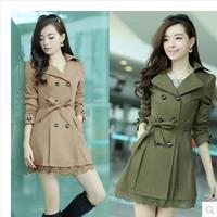 Free shiiping Women coat 2014 women's plus size casual women's outerwear lace double breasted medium-long trench M-XXXL