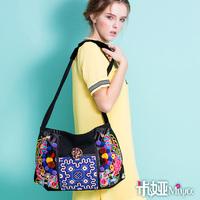 MIYA National embroidery trend embroidered bag canvas bag single shoulder bag national bag women's handbag phoenix flower