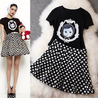 NEW 2014 summer fashion women's embroidery doll short-sleeve T-shirt fresh polka dot skirt set