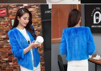 2014Female mink fur v-neck 3/4 sleeve female mink fur real fur coats mink fur leather jacket Free shipping