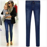 Autumn and winter 2014 new fashion thickening elastic brief elegant sexy women denim jeans trousers skinny pants for woman