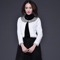 2013 autumn and winter fashion female top all-match small cardigan beading high quality slim lace patchwork short jacket
