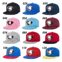 unisex women and men superman snapback hat baseball cap hip-hop flat-brimmed hat 24 color available