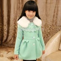 Children's clothing female child autumn 2014 top child outerwear child medium-long wool coat fur collar coat
