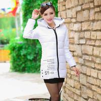 Autumn and winter slim down cotton-padded jacket medium-long wadded jacket female thickening cotton-padded jacket plus size