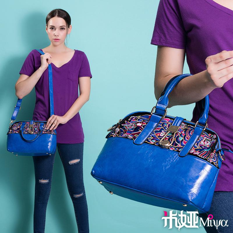 New arrival embroidery shoulder bag messenger bag faux leather PU bag handbag banquet bag blue(China (Mainland))