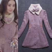 New arrival 2014 winter women thickening woolen outerwear overcoat medium-long warm fleece Wool Blends Coat for woman