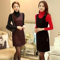 2104 women woolen cute dress autumn and winter plus size S-XXL clothing fashion basic sleeveless tank work office dress 7 color