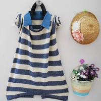 Doll autumn mm plus size sweater sweet stripe denim sweater outerwear faux two piece
