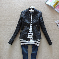 Free Shipping 2014 Hot Sell Big Brand Fashion Women Slim Motorcycle Leather Jacket Autumn Winter PU Leather Trench Coat
