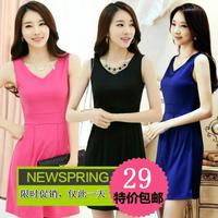 2014 women's slim plus size S-XXXL  office dress summer sleeveless tank work dress basic  12 color