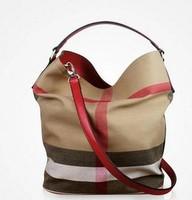 Real Leather + Canvas Bags Plaid Casuel Bag Women Handbag tote Shoulder bag Cowhide Leather Handbag