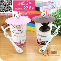 Rabbit lovers cup married mug glass mug with lid belt spoon ceramic cup