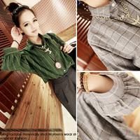 2014 autumn vintage classic plaid turn-down collar half sleeve short design shirt female