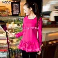 New Arrival Plus size shirt solid color elegant A hem shape shirt plus size autumn sweet princess style sweatshirt A hem