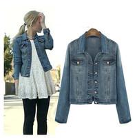 Fashion denim outerwear women's long-sleeve denim top short design turn-down collar outwear autumn jacket