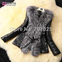 2014 FemaleTop Fashion Special Offer imitate Fox Fur Coat Leather Outerwear Overcoat Women Black Coats