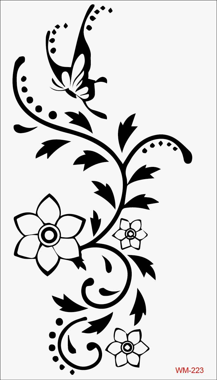 Chinese Flower Pattern Chinese Flower Pattern Black