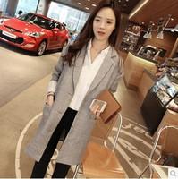 Cotton Loose Blazer Women 2014 Korea Style Casual Plus Size Coat BF Trench Ladies Suits