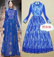 Fashion women's 2014 turn-down collar long-sleeve lace slim full dress elegant one-piece dress banquet dress
